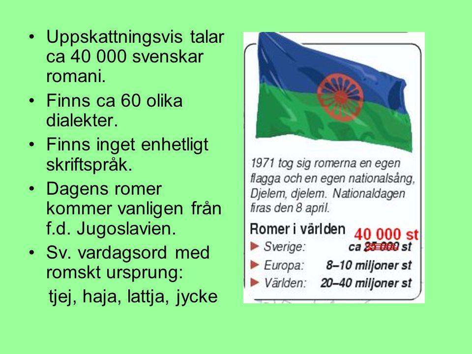 Uppskattningsvis talar ca 40 000 svenskar romani. Finns ca 60 olika dialekter. Finns inget enhetligt skriftspråk. Dagens romer kommer vanligen från f.