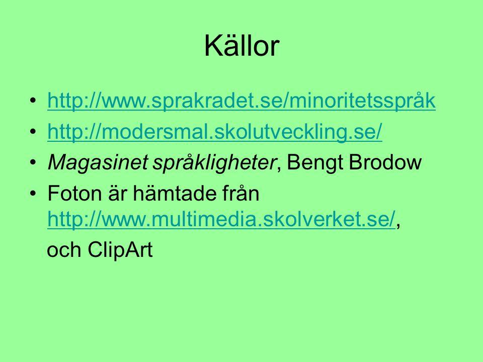 Källor http://www.sprakradet.se/minoritetsspråk http://modersmal.skolutveckling.se/ Magasinet språkligheter, Bengt Brodow Foton är hämtade från http://www.multimedia.skolverket.se/, http://www.multimedia.skolverket.se/ och ClipArt