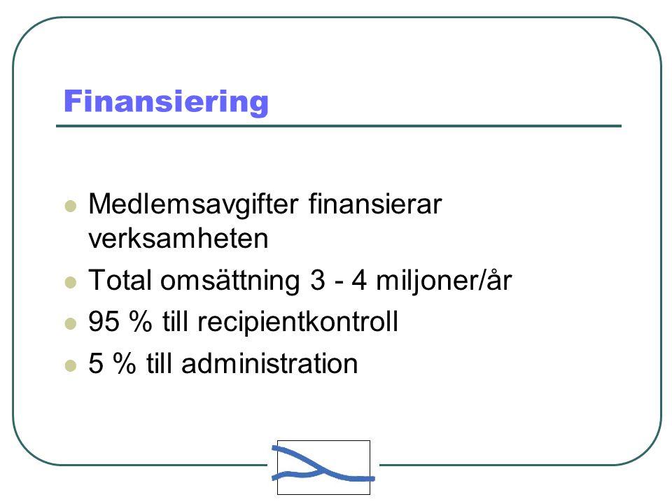 Finansiering Medlemsavgifter finansierar verksamheten Total omsättning 3 - 4 miljoner/år 95 % till recipientkontroll 5 % till administration