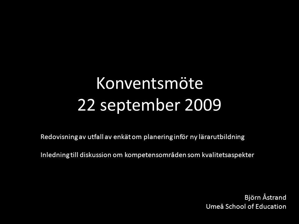 Konventsmöte 22 september 2009 Redovisning av utfall av enkät om planering inför ny lärarutbildning Inledning till diskussion om kompetensområden som