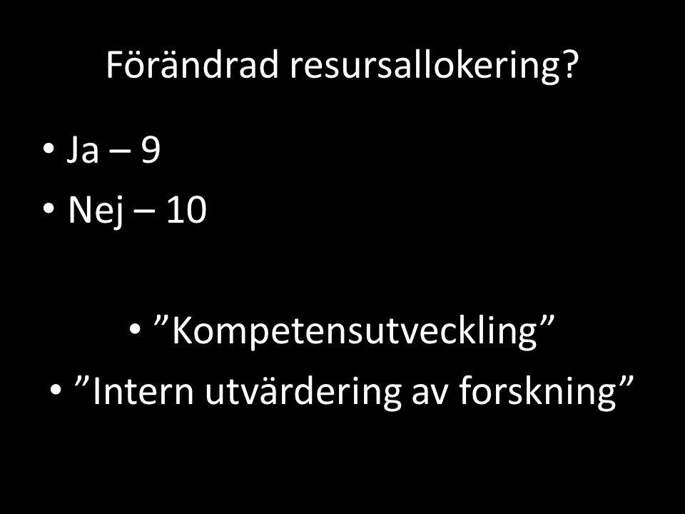 """Förändrad resursallokering? Ja – 9 Nej – 10 """"Kompetensutveckling"""" """"Intern utvärdering av forskning"""""""