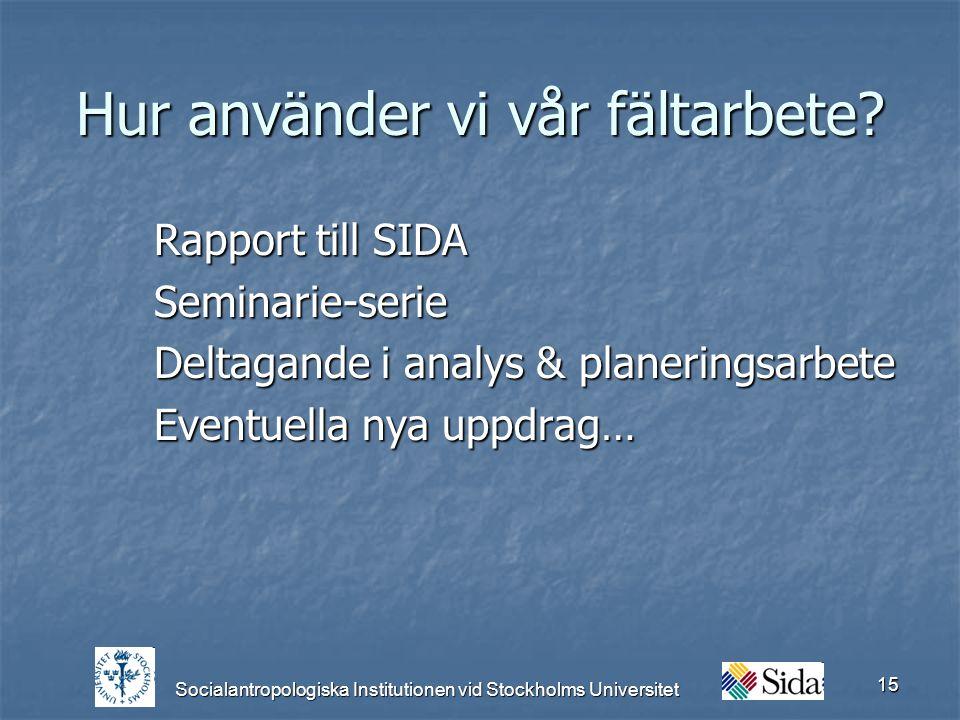 Socialantropologiska Institutionen vid Stockholms Universitet 15 Hur använder vi vår fältarbete.