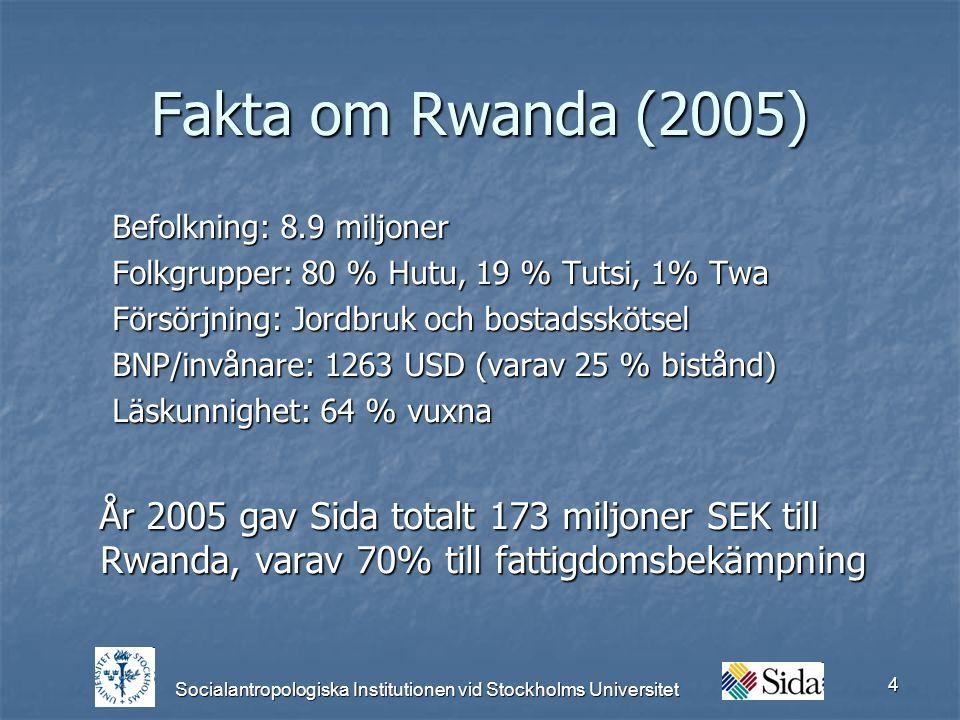 Socialantropologiska Institutionen vid Stockholms Universitet 4 Fakta om Rwanda (2005) Befolkning: 8.9 miljoner Folkgrupper: 80 % Hutu, 19 % Tutsi, 1% Twa Försörjning: Jordbruk och bostadsskötsel BNP/invånare: 1263 USD (varav 25 % bistånd) Läskunnighet: 64 % vuxna År 2005 gav Sida totalt 173 miljoner SEK till Rwanda, varav 70% till fattigdomsbekämpning År 2005 gav Sida totalt 173 miljoner SEK till Rwanda, varav 70% till fattigdomsbekämpning