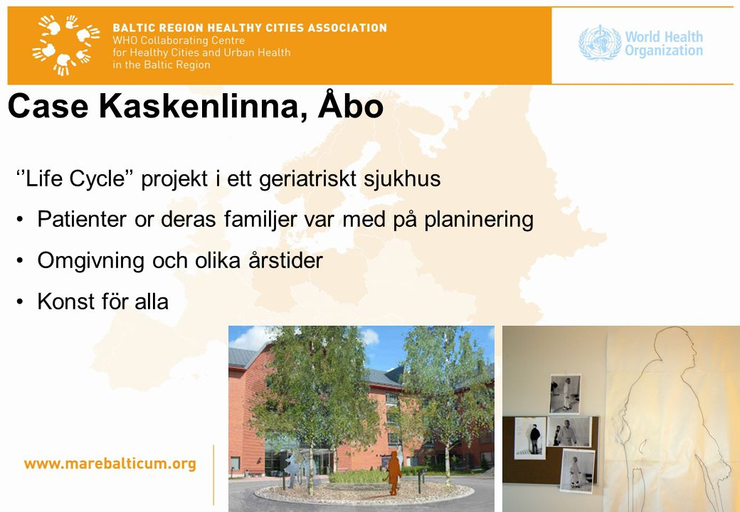 Case Kaskenlinna, Åbo ''Life Cycle'' projekt i ett geriatriskt sjukhus Patienter or deras familjer var med på planinering Omgivning och olika årstider Konst för alla