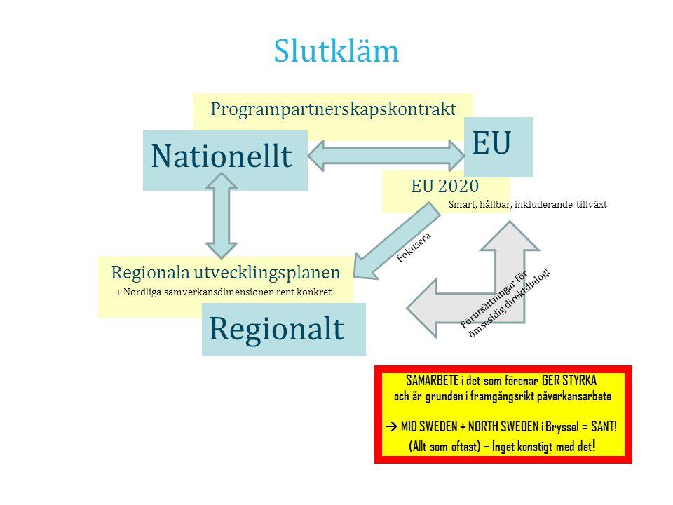 Slutkläm Regionala utvecklingsplanen Programpartnerskapskontrakt EU 2020 EU Nationellt Regionalt Fokusera + Nordliga samverkansdimensionen rent konkre