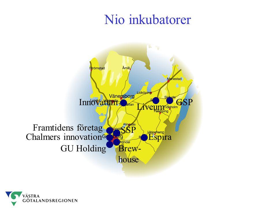 Västra Götaland Nio inkubatorer Framtidens företag InnovatumGSP Espira Liveum Brew- house SSP GU Holding Chalmers innovation