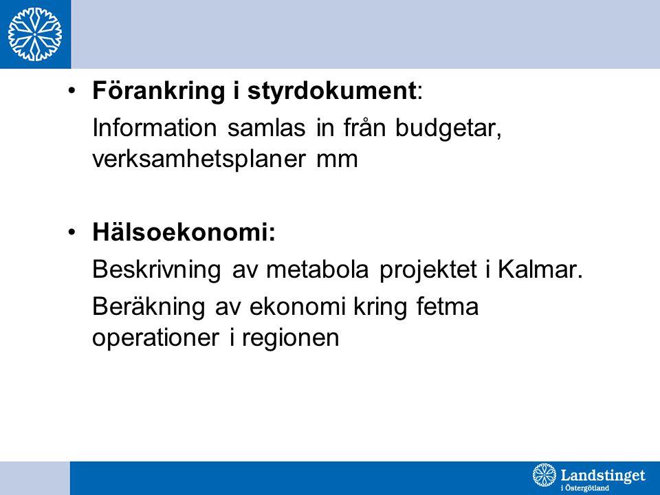 Förankring i styrdokument: Information samlas in från budgetar, verksamhetsplaner mm Hälsoekonomi: Beskrivning av metabola projektet i Kalmar.