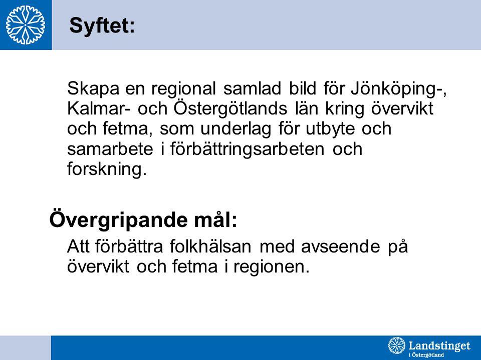 Syftet: Skapa en regional samlad bild för Jönköping-, Kalmar- och Östergötlands län kring övervikt och fetma, som underlag för utbyte och samarbete i förbättringsarbeten och forskning.
