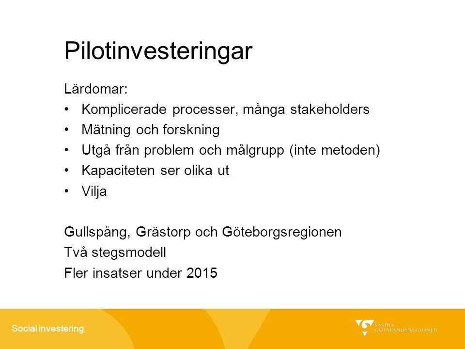 Pilotinvesteringar Lärdomar: Komplicerade processer, många stakeholders Mätning och forskning Utgå från problem och målgrupp (inte metoden) Kapacitete