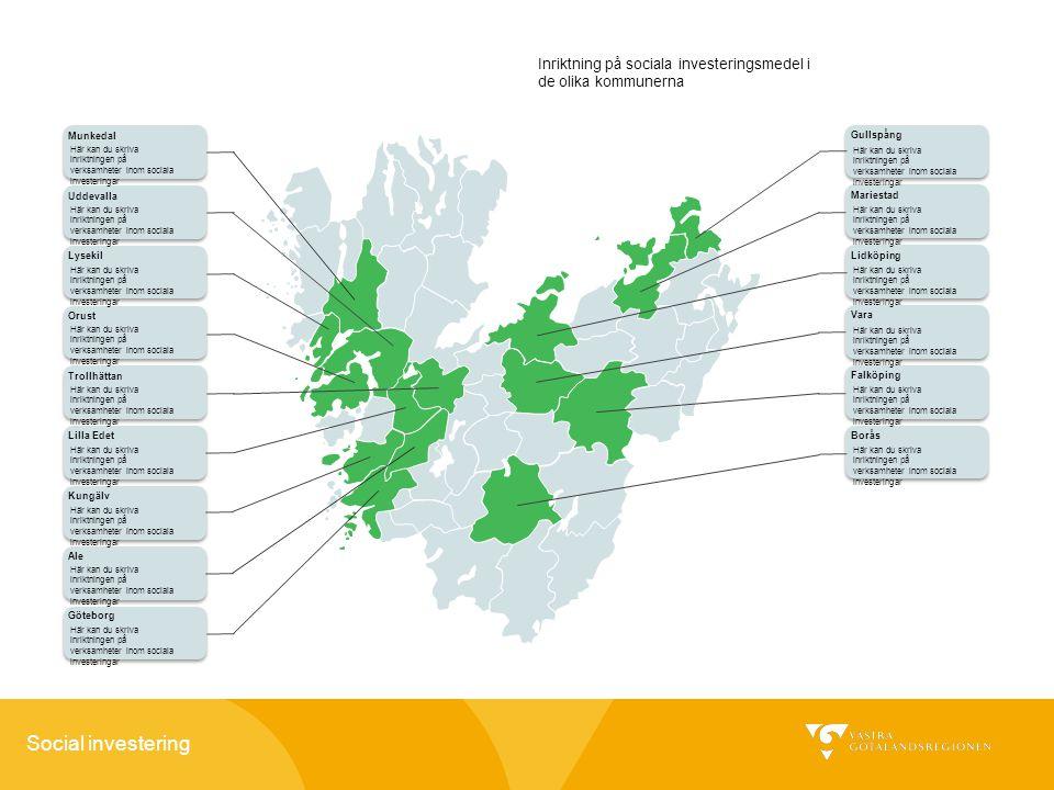 Social investering Munkedal Lidköping Uddevalla Trollhättan Lilla Edet Orust Lysekil Kungälv Ale Vara Falköping Borås Mariestad Gullspång Göteborg Här