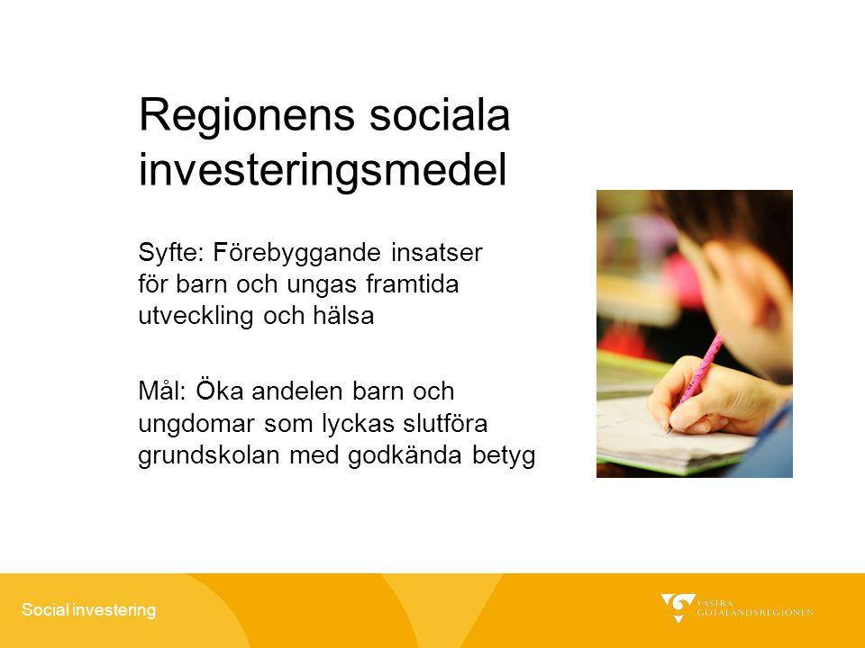 Social investering Regionens sociala investeringsmedel Syfte: Förebyggande insatser för barn och ungas framtida utveckling och hälsa Mål: Öka andelen