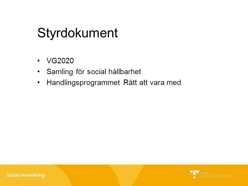 Social investering Styrdokument VG2020 Samling för social hållbarhet Handlingsprogrammet Rätt att vara med