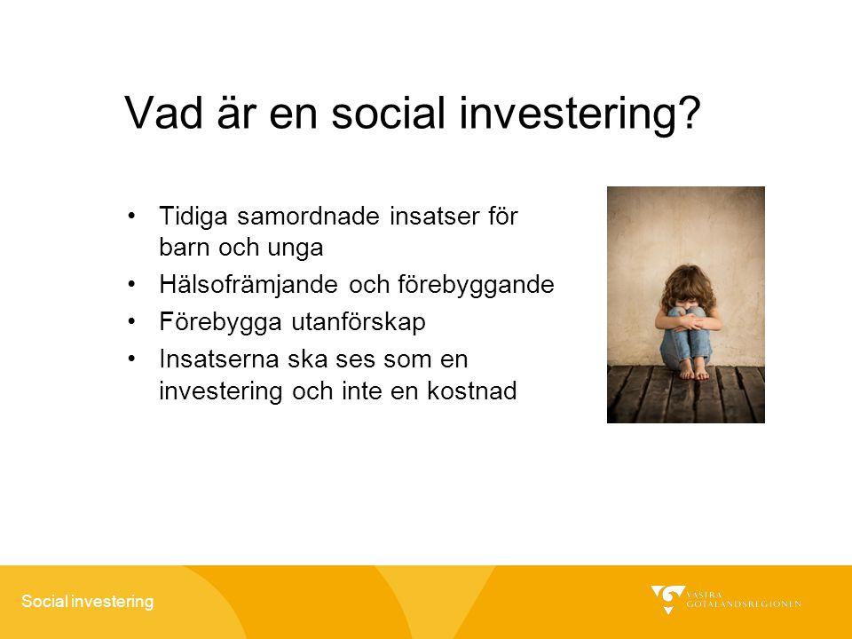 Social investering Vad är en social investering? Tidiga samordnade insatser för barn och unga Hälsofrämjande och förebyggande Förebygga utanförskap In