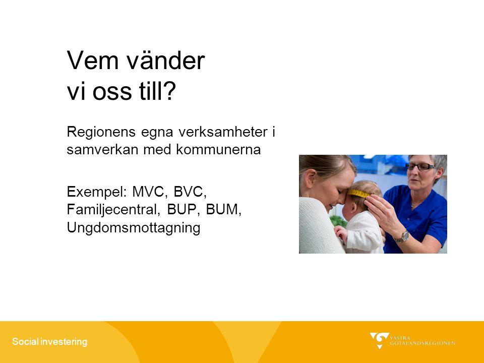 Social investering Vem vänder vi oss till? Regionens egna verksamheter i samverkan med kommunerna Exempel: MVC, BVC, Familjecentral, BUP, BUM, Ungdoms