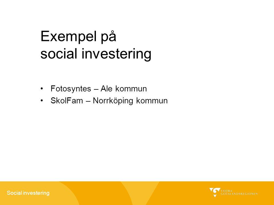 Social investering Exempel på social investering Fotosyntes – Ale kommun SkolFam – Norrköping kommun