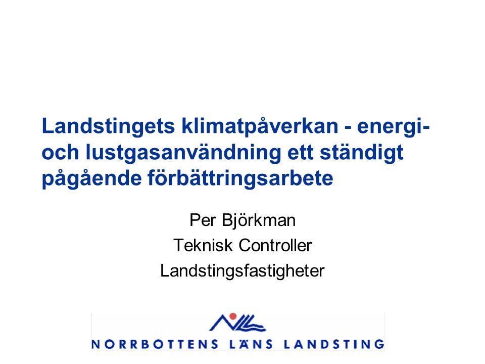 Landstingets klimatpåverkan - energi- och lustgasanvändning ett ständigt pågående förbättringsarbete Per Björkman Teknisk Controller Landstingsfastigheter