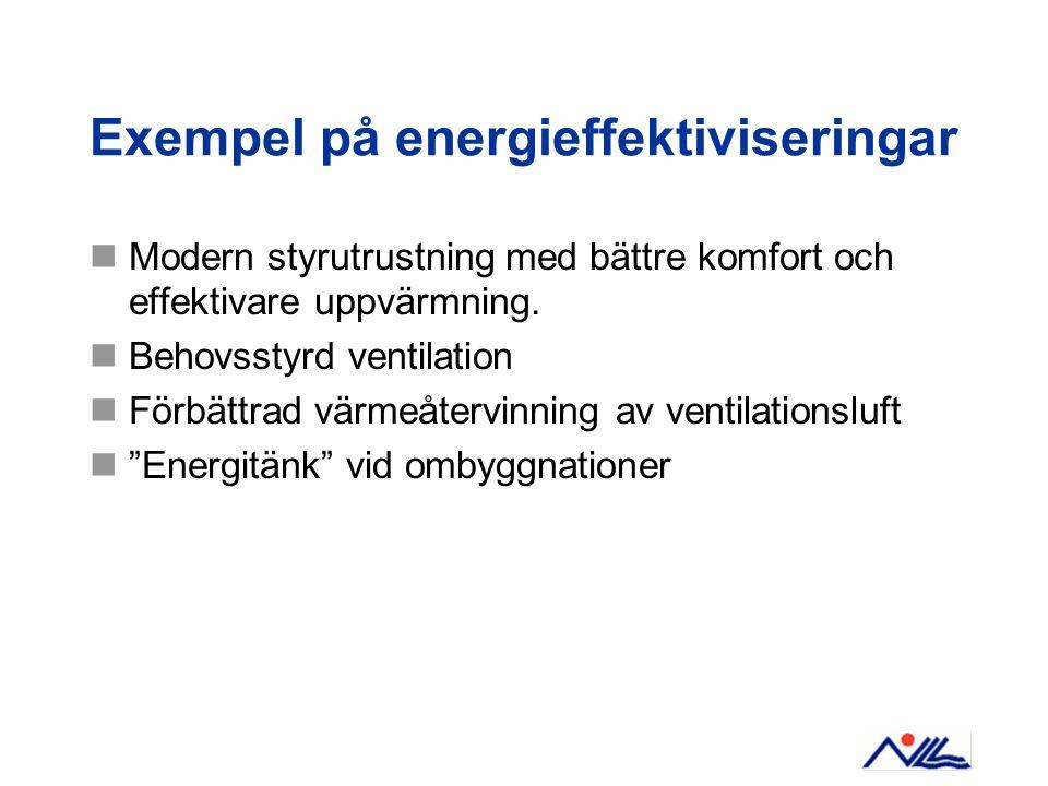 Exempel på energieffektiviseringar Modern styrutrustning med bättre komfort och effektivare uppvärmning.