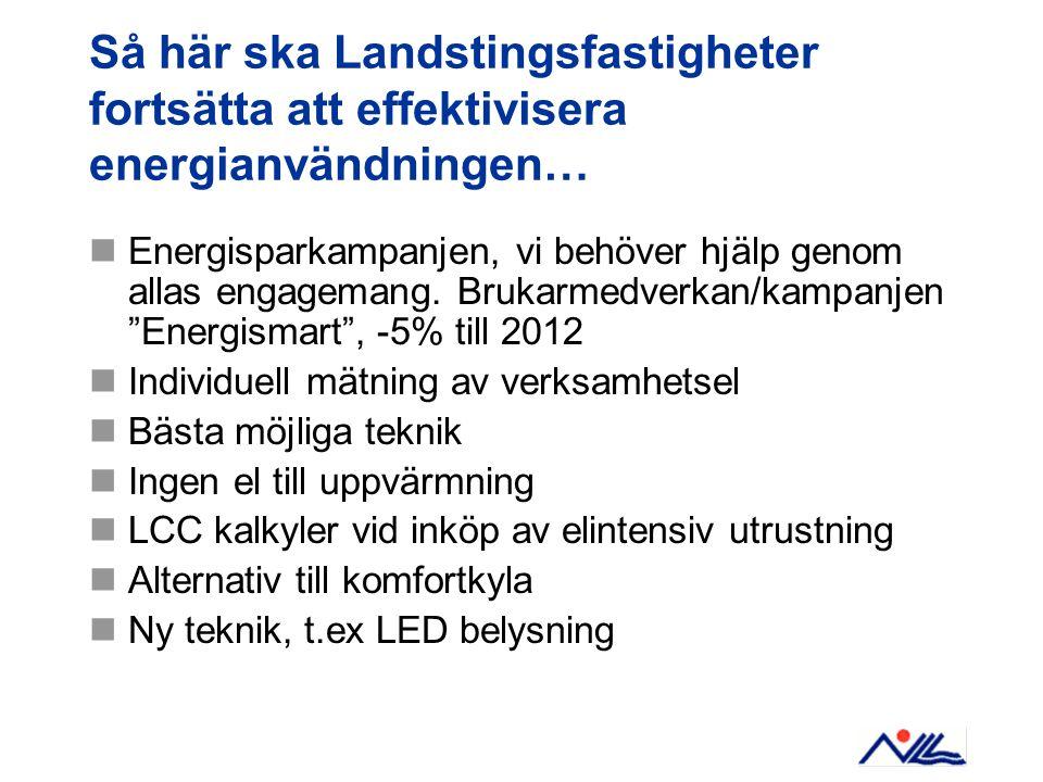 Så här ska Landstingsfastigheter fortsätta att effektivisera energianvändningen… Energisparkampanjen, vi behöver hjälp genom allas engagemang.