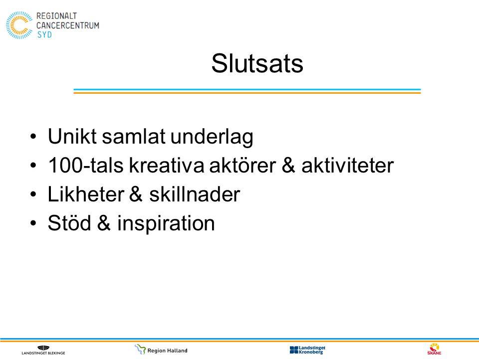 Slutsats Unikt samlat underlag 100-tals kreativa aktörer & aktiviteter Likheter & skillnader Stöd & inspiration