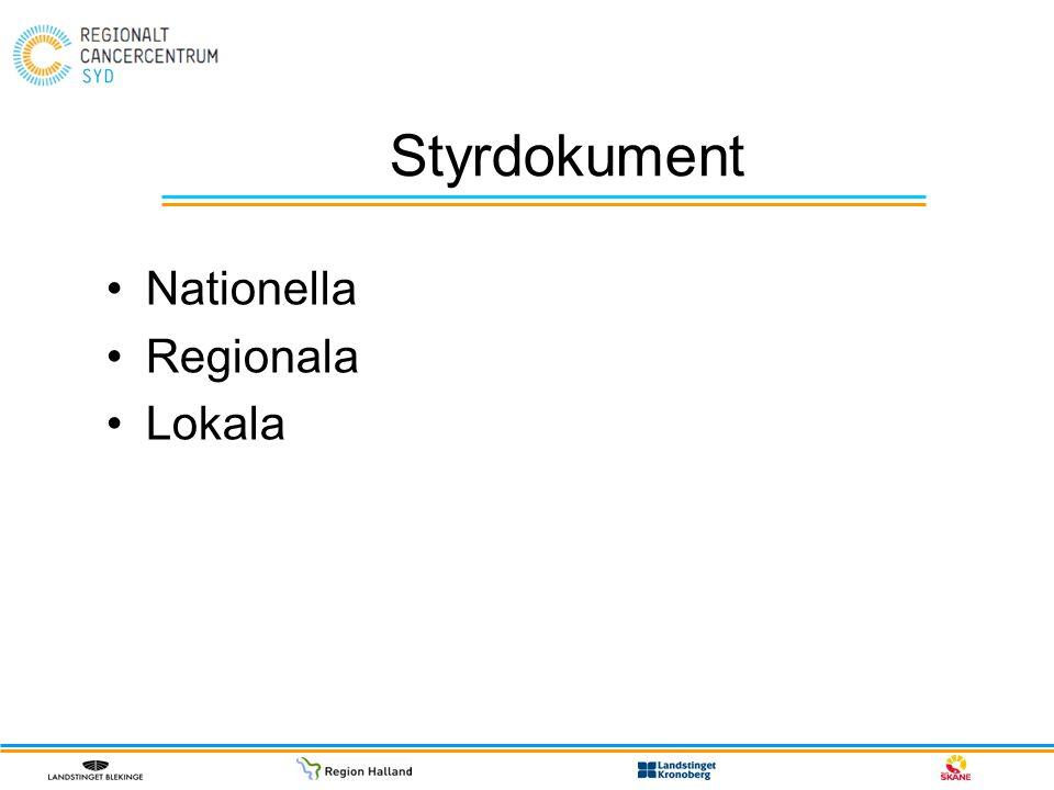 Styrdokument Nationella Regionala Lokala