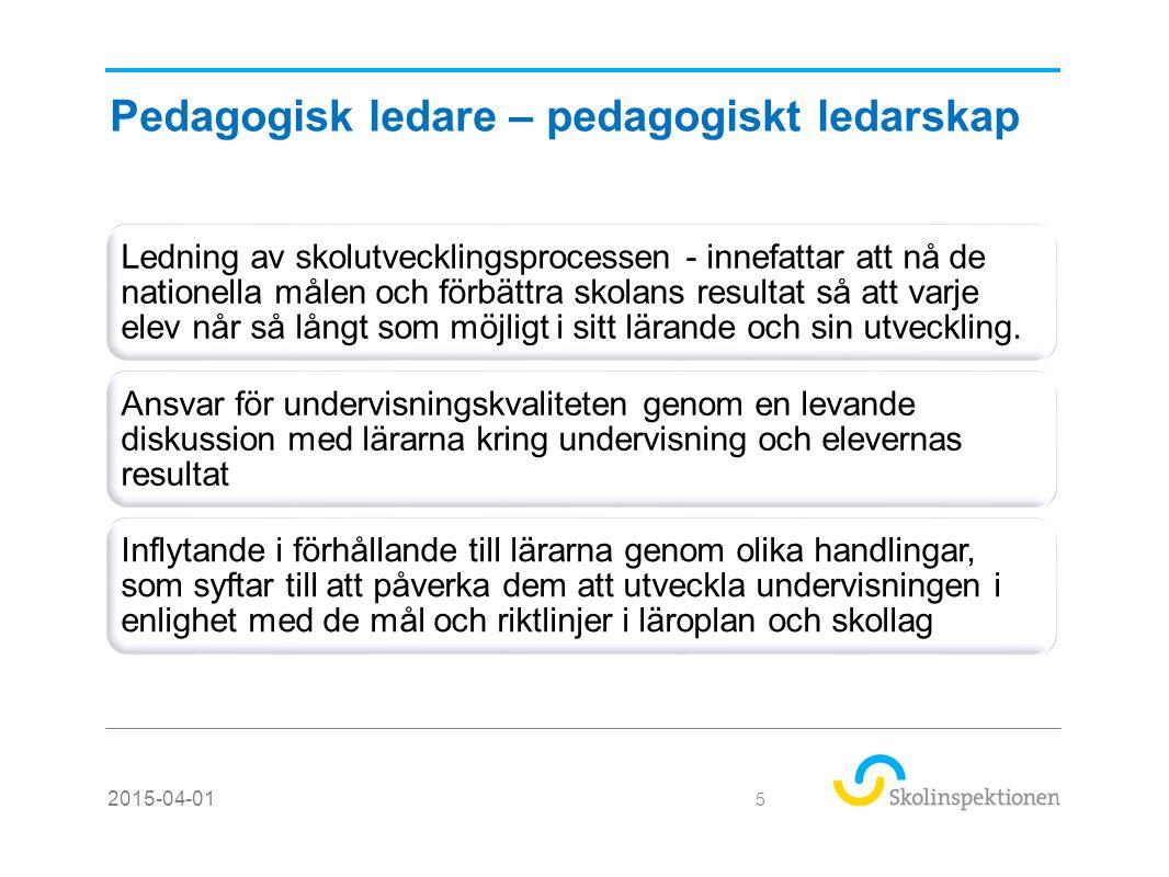 Pedagogisk ledare – pedagogiskt ledarskap forts… Ha kunskap och kompetens för att kunna tolka uppdraget och omsätta det i undervisning, leda lärprocesser, kommunicera med medarbetarna Långsiktighet i mål och kvalitetsarbete – forma förutsättningar för undervisning och lärande – direkt engagemang i undervisning 2015-04-01 6