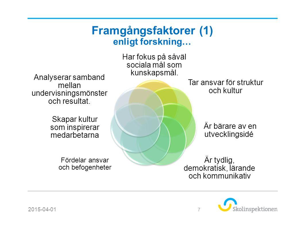 Framgångsfaktorer (1) enligt forskning… Har fokus på såväl sociala mål som kunskapsmål.