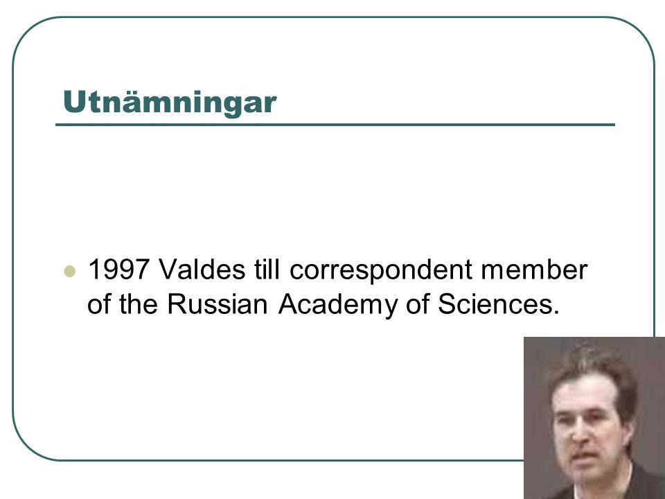 Utnämningar 1997 Valdes till correspondent member of the Russian Academy of Sciences.