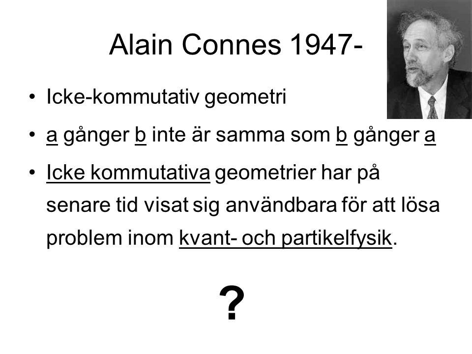 Alain Connes 1947- Icke-kommutativ geometri a gånger b inte är samma som b gånger a Icke kommutativa geometrier har på senare tid visat sig användbara