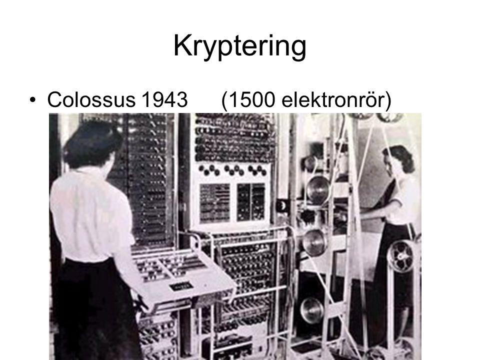 Kryptering Colossus 1943(1500 elektronrör)