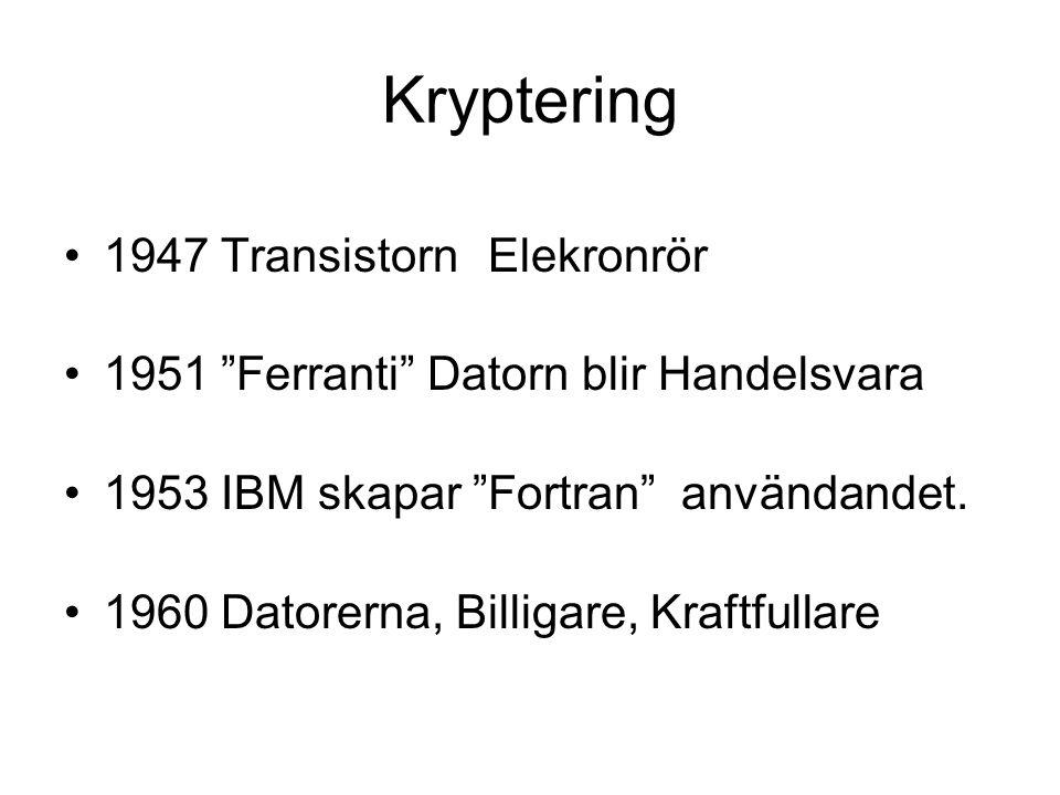 """Kryptering 1947 TransistornElekronrör 1951 """"Ferranti"""" Datorn blir Handelsvara 1953 IBM skapar """"Fortran"""" användandet. 1960 Datorerna, Billigare, Kraftf"""