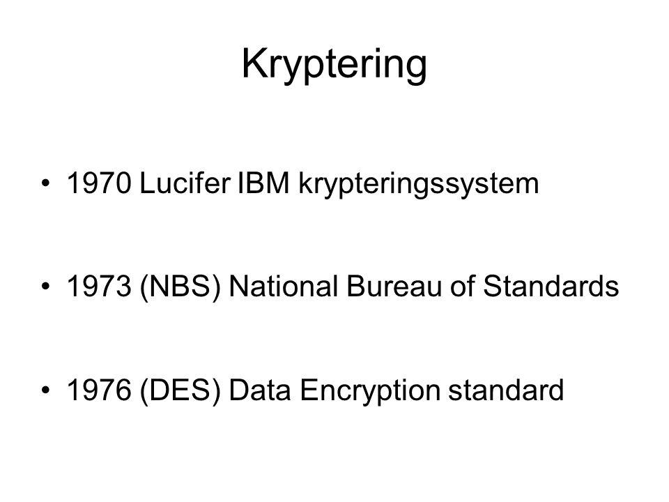 Kryptering 1970 Lucifer IBM krypteringssystem 1973 (NBS) National Bureau of Standards 1976 (DES) Data Encryption standard