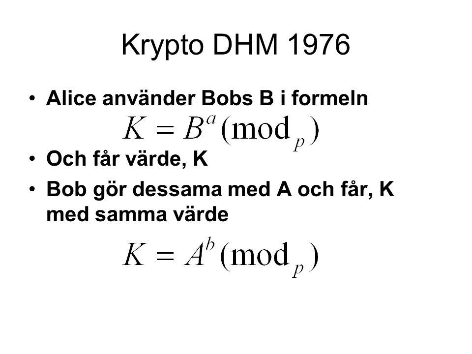 Krypto DHM 1976 Alice använder Bobs B i formeln Och får värde, K Bob gör dessama med A och får, K med samma värde