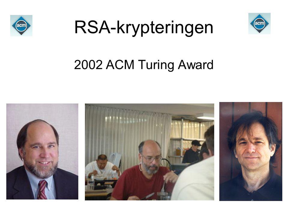 RSA-krypteringen 2002 ACM Turing Award