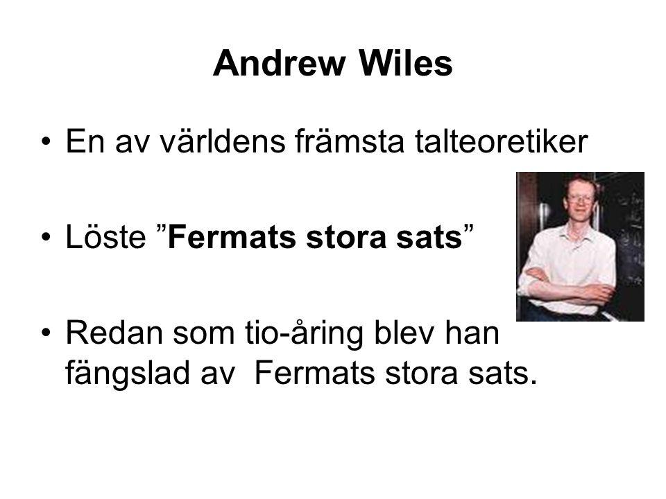 """Andrew Wiles En av världens främsta talteoretiker Löste """"Fermats stora sats"""" Redan som tio-åring blev han fängslad av Fermats stora sats."""