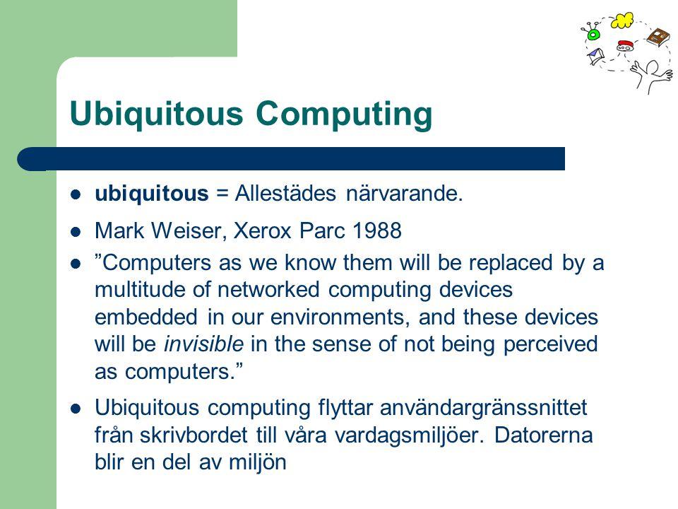 Ubiquitous Computing ubiquitous = Allestädes närvarande.