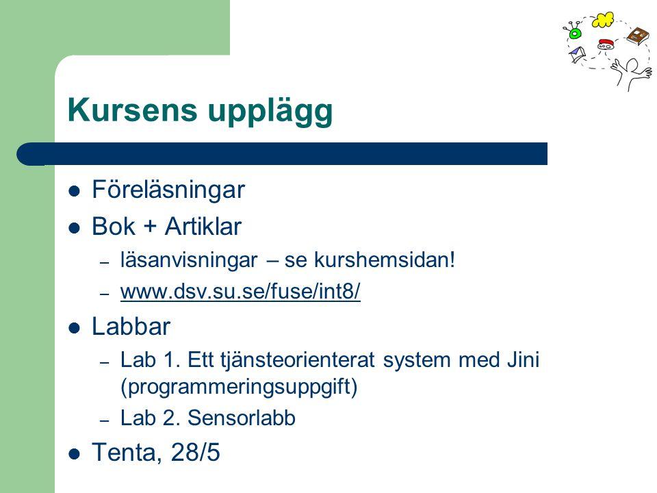 Kursens upplägg Föreläsningar Bok + Artiklar – läsanvisningar – se kurshemsidan! – www.dsv.su.se/fuse/int8/ www.dsv.su.se/fuse/int8/ Labbar – Lab 1. E