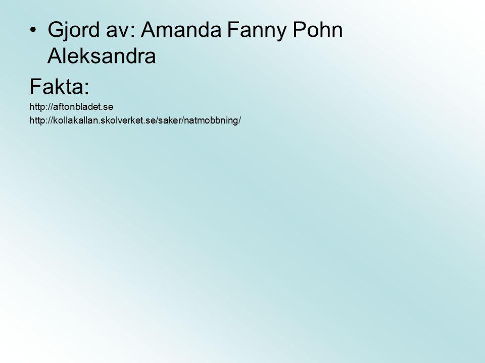 Gjord av: Amanda Fanny Pohn Aleksandra Fakta: http://aftonbladet.se http://kollakallan.skolverket.se/saker/natmobbning/