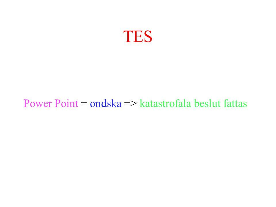TES Power Point = ondska => katastrofala beslut fattas