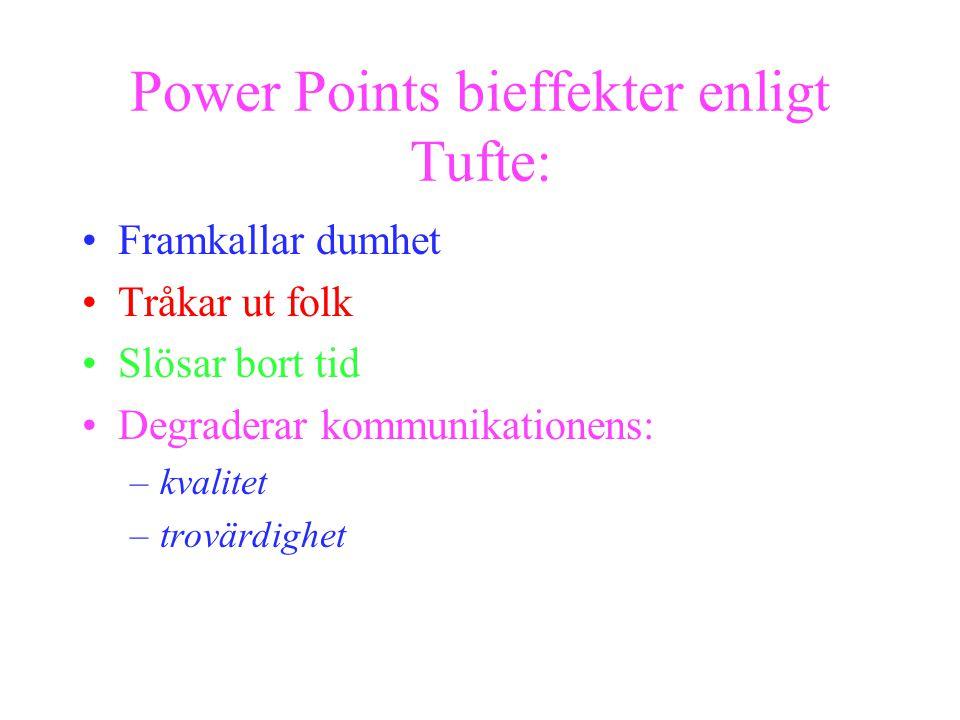 Power Points bieffekter enligt Tufte: Framkallar dumhet Tråkar ut folk Slösar bort tid Degraderar kommunikationens: –kvalitet –trovärdighet