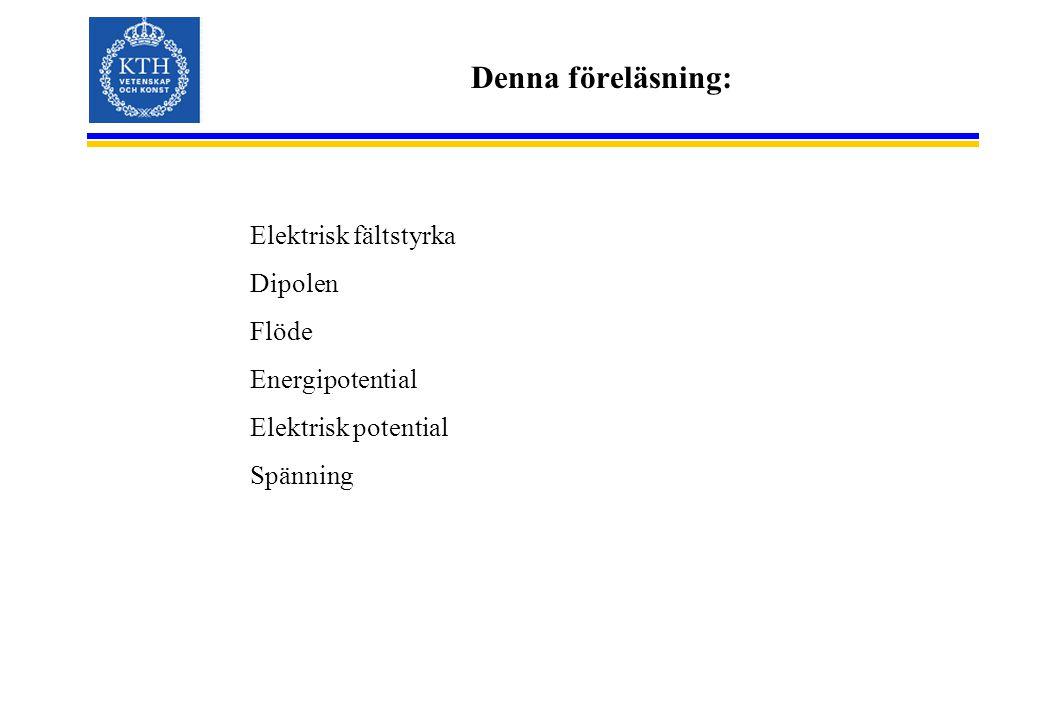 Denna föreläsning: Elektrisk fältstyrka Dipolen Flöde Energipotential Elektrisk potential Spänning