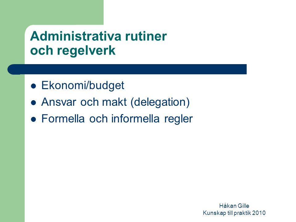 Håkan Gille Kunskap till praktik 2010 Organisatoriska förhållanden Uppdrag Resurser Grad av politisk styrning Struktur Utbredning