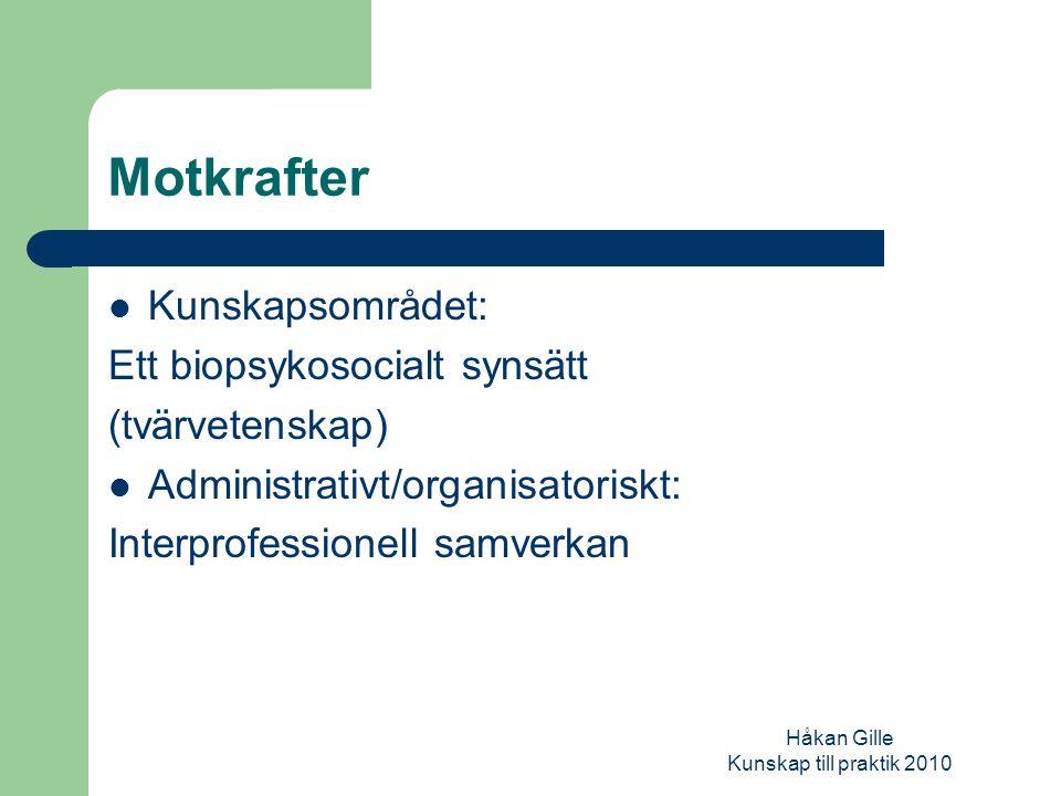 Håkan Gille Kunskap till praktik 2010 Samverkan: ett samspel mellan olika dimensioner diskursiv (kunskap-och förklaringsmodell) organisatorisk/juridisk psykologisk