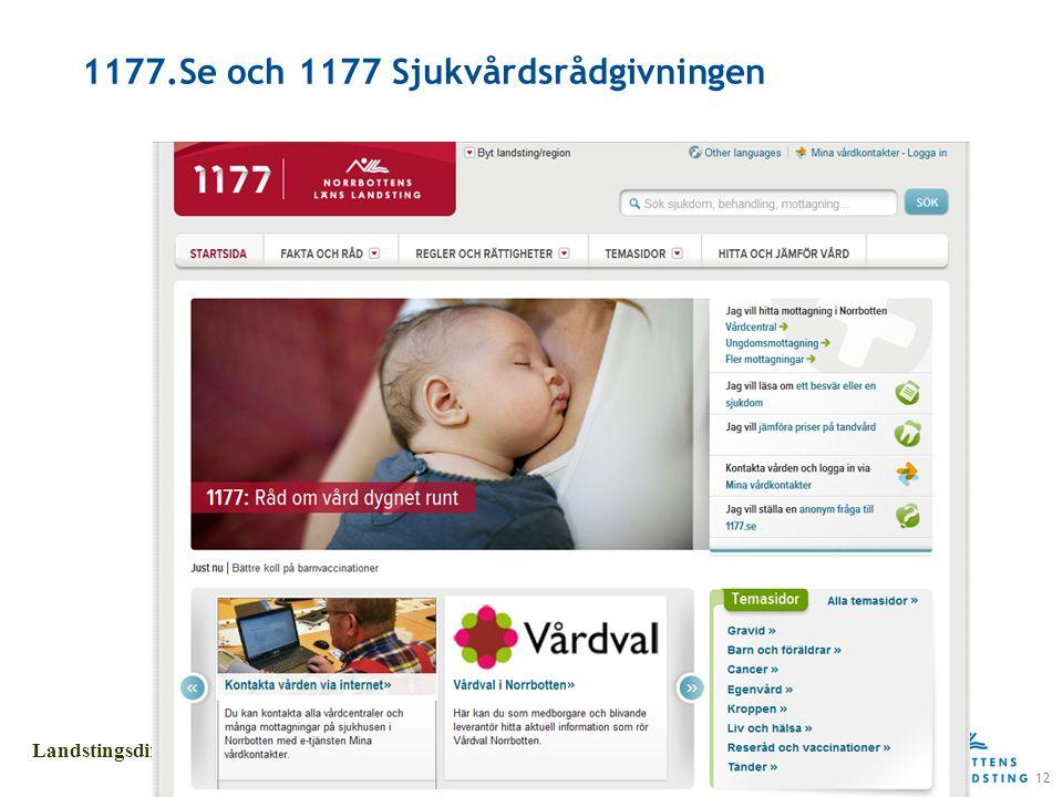 12 Landstingsdirektörens stab 1177.Se och 1177 Sjukvårdsrådgivningen