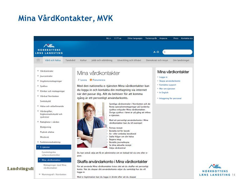 14 Landstingsdirektörens stab Mina VårdKontakter, MVK