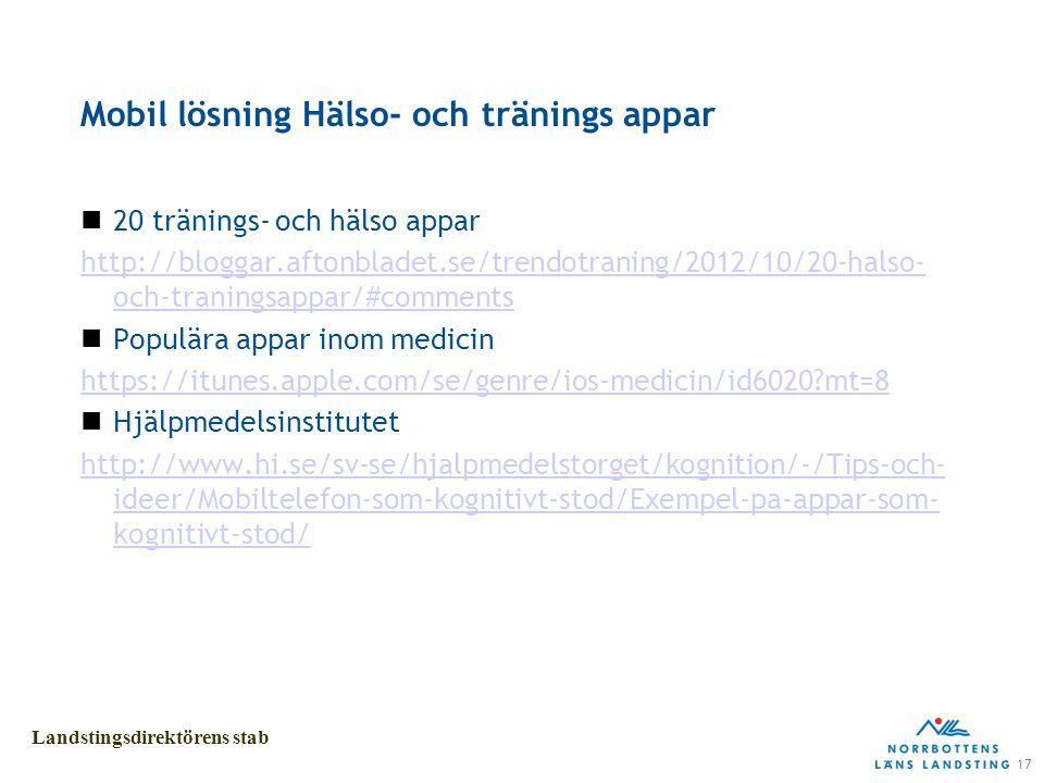 17 Landstingsdirektörens stab Mobil lösning Hälso- och tränings appar 20 tränings- och hälso appar http://bloggar.aftonbladet.se/trendotraning/2012/10/20-halso- och-traningsappar/#comments Populära appar inom medicin https://itunes.apple.com/se/genre/ios-medicin/id6020 mt=8 Hjälpmedelsinstitutet http://www.hi.se/sv-se/hjalpmedelstorget/kognition/-/Tips-och- ideer/Mobiltelefon-som-kognitivt-stod/Exempel-pa-appar-som- kognitivt-stod/