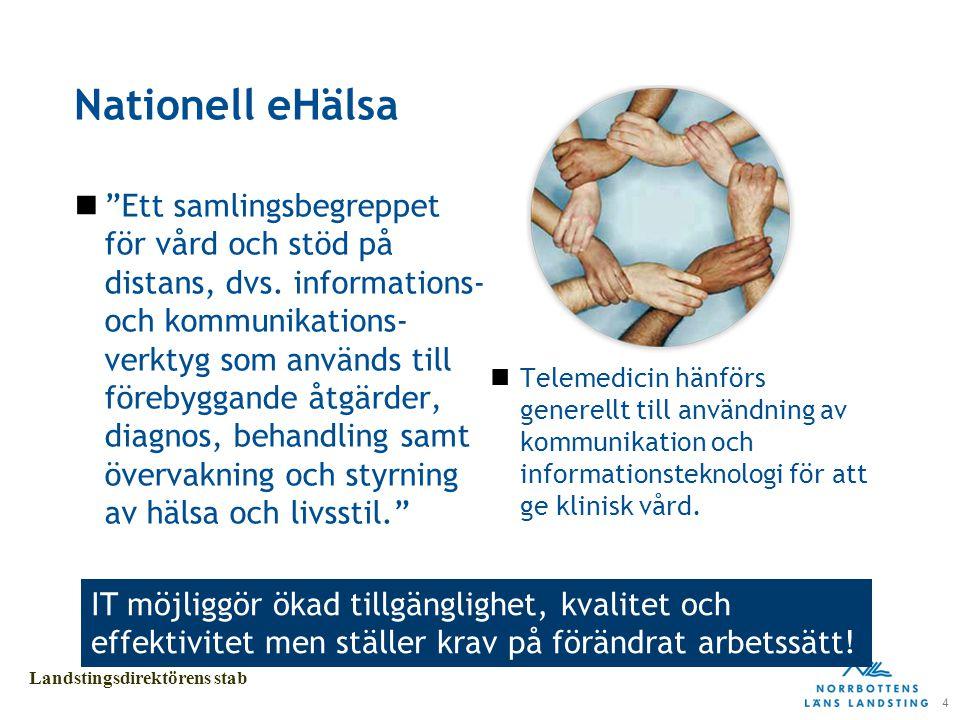 5 Landstingsdirektörens stab Landstingets definition Begreppet e-hälsa definieras som användningen och utvecklingen av informations- och kommunikationsteknologi för att främja vård och omsorg.
