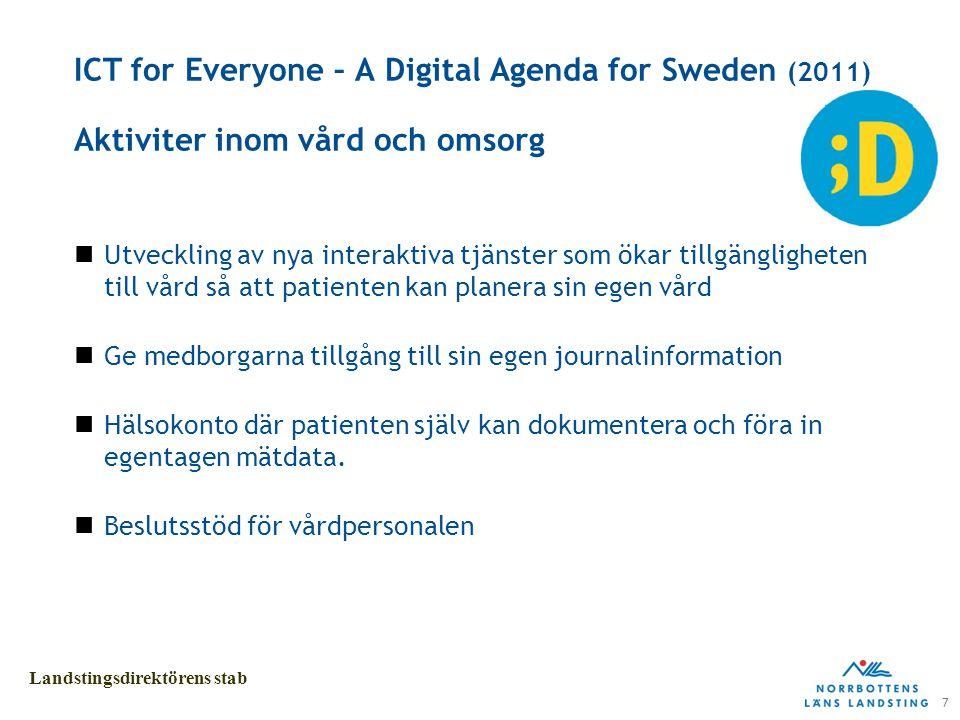 7 Landstingsdirektörens stab ICT for Everyone – A Digital Agenda for Sweden (2011) Aktiviter inom vård och omsorg Utveckling av nya interaktiva tjänster som ökar tillgängligheten till vård så att patienten kan planera sin egen vård Ge medborgarna tillgång till sin egen journalinformation Hälsokonto där patienten själv kan dokumentera och föra in egentagen mätdata.