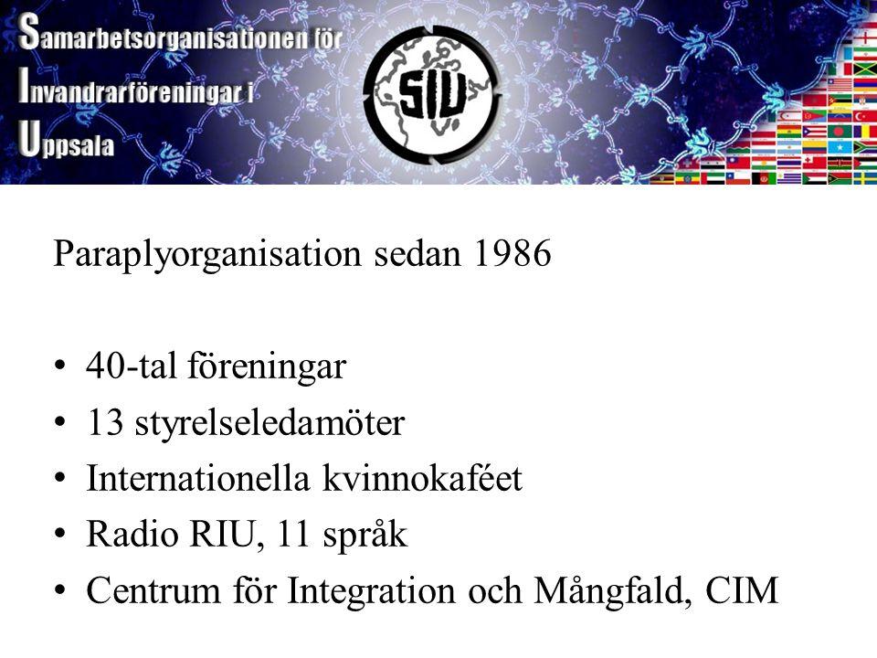 SIU Paraplyorganisation sedan 1986 40-tal föreningar 13 styrelseledamöter Internationella kvinnokaféet Radio RIU, 11 språk Centrum för Integration och Mångfald, CIM