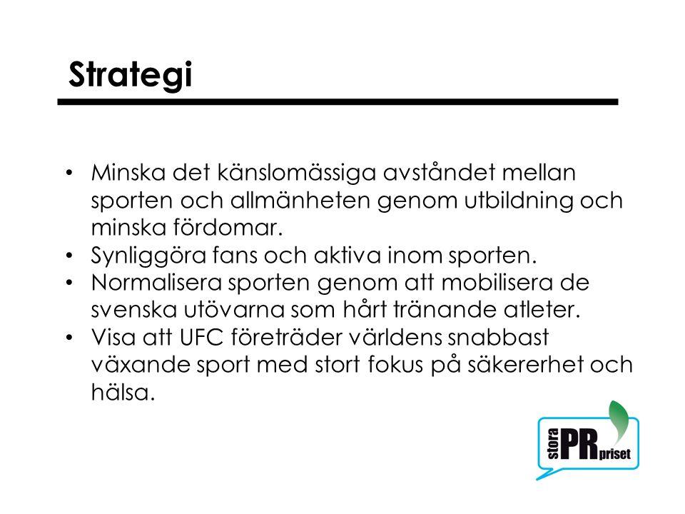 Kampanjen Ambassadörsprogram med utövarna Utbildning av journalister Samarbete med svenska MMA-förbundet Använda kända idrottsstjärnor och artister som följer sporten identifierades som språkrör.