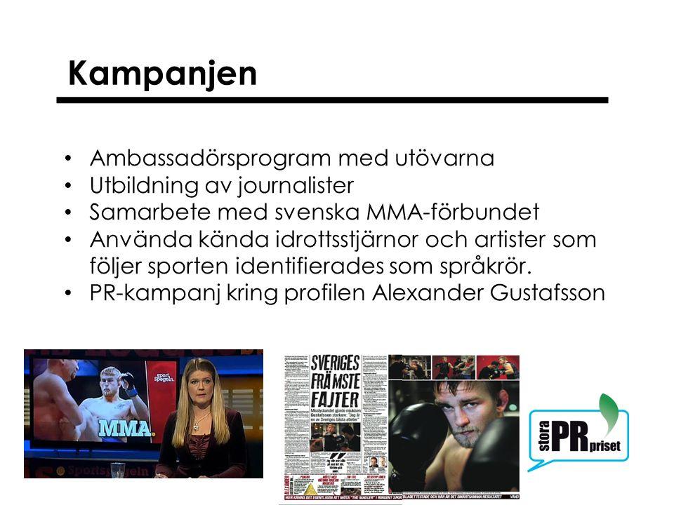 Kampanjen Ambassadörsprogram med utövarna Utbildning av journalister Samarbete med svenska MMA-förbundet Använda kända idrottsstjärnor och artister so